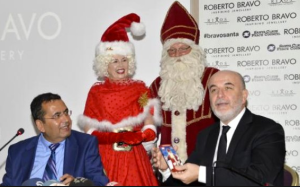 CEO of Roberto Bravo, Mustafa Kamar with President of Santa Peace Council Mummuar Karabulut at the press launch, Antalya Turkey before we headed off to the Church of St Nicholas where he is buried. East & West together (Santa with Mrs Claus at church of St Nicholas) bringing peace in oneness & love... love these visionary men, together with Mrs Claus Australia & Santa Hungary.